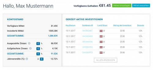 Dashboard-Vianvest-P2P-Plattform