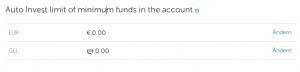 Minimalbetrag auf Investorenkonto