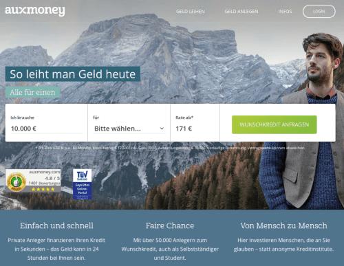 P2P Kredite Plattform Auxmoney