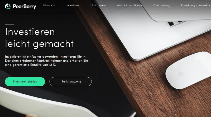 PeerBerry Webseite
