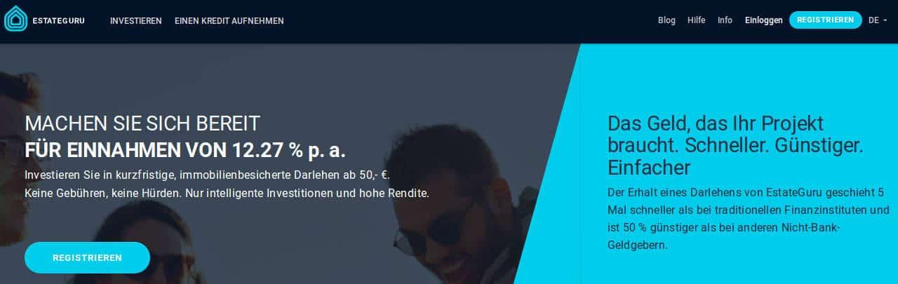 Die Webseite von Estateguru der P2P Kredite Plattform