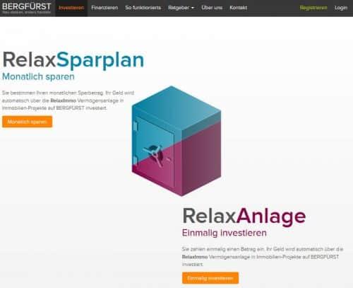 ReleaxSparplan und RelaxAnlage von Bergfürst