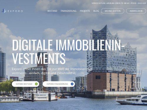 Exporo die Startseite der Crowdinvesting Plattform